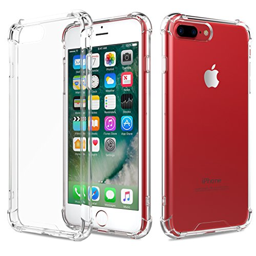 Price comparison product image MoKo Case for iPhone 7 Plus - Shock Absorption Flexible TPU Bumper Anti-Scratch Rigid Slim Protective Cases Clear Back Cover for iPhone 7 Plus, Crystal Clear