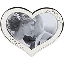 Clustered Rhinestones Heart Shaped 6.5 x 8 inch Zinc Alloy Table Top Photo Frame