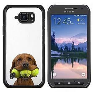 Caucho caso de Shell duro de la cubierta de accesorios de protecci¨®n BY RAYDREAMMM - Samsung Galaxy S6Active Active G890A - Tenis Golden Retriever perro de mascota