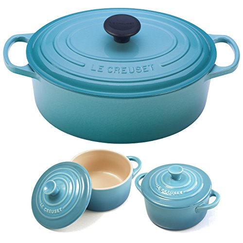 Le Creuset Signature Caribbean Enameled Cast Iron 5 Quart Oval French Oven with 2 Free Stoneware Cocottes - 5 Qt Oval French Oven