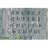 75mm Buchstabenschablonen A-Z altdeutsche Schrift AD mit Sprühnebelschutz
