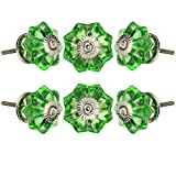 Set of 6 Crystal Glass Knobs Kitchen Cabinet Cupboard Glass Door Knobs Dresser Wardrobe and Drawer Pull by Perilla Home (Green)