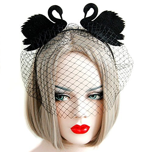 QTMY Veil Yarn Black Swan Eye Mask Headdress for Halloween Party Costume]()