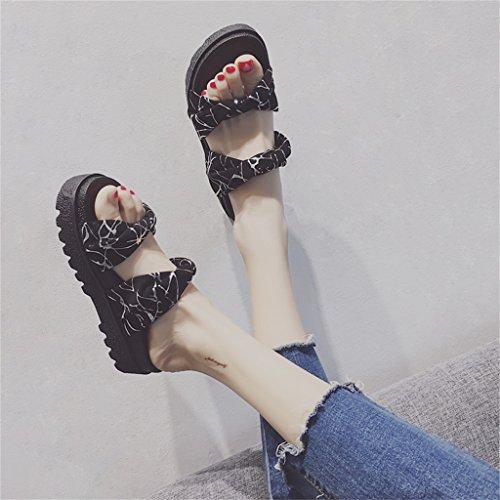 con del YAnFAn Altura On Correa Al En Zapatos Fondo Zapato Playa Sandalia Mujer Tela Libre En Sandalias con Tacón para Negro Grueso para Verano Slip amp; Cm con Aire 5 De Tacón Plano Plano Estilo AwqTrA