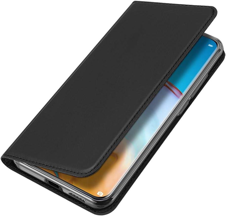 BRAND SET Funda para Xiaomi Redmi Note 9 Pro Funda de Cuero con Tapa Plegable Material de PU con Función de Soporte Hebilla Magnética Invisible Funda Ultrafina Carcasa para Redmi Note 9 Pro-Negro