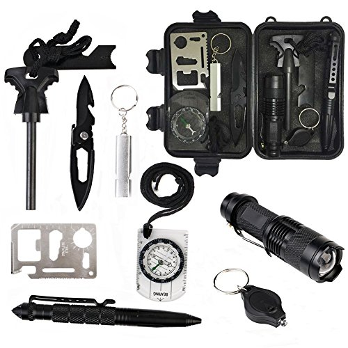 10 in 1 Outdoor Emergency Survival Kit, Multi Professiona...