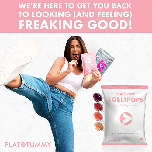 Flat Tummy Appetite Suppressant Lollipops | The Best All Natural Suckers, 4 Great Flavors + Apple, Grape, Watermelon & Berry + Suppress Cravings, The Perfect Low Calorie Diet Candy by Flat Tummy Co. (Image #6)