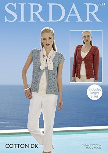 86692c2475db Sirdar Ladies Cardigan   Waistcoat Cotton Knitting Pattern 7913 DK  Amazon. co.uk  Kitchen   Home
