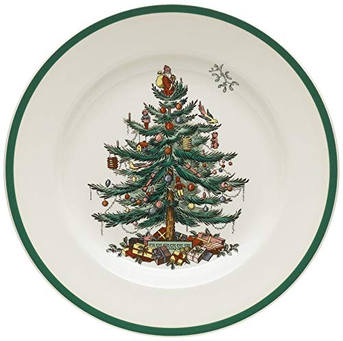 Spode Christmas Tree 10-1/2-Inch Dinner Plates, Set of 4 (Renewed) ()