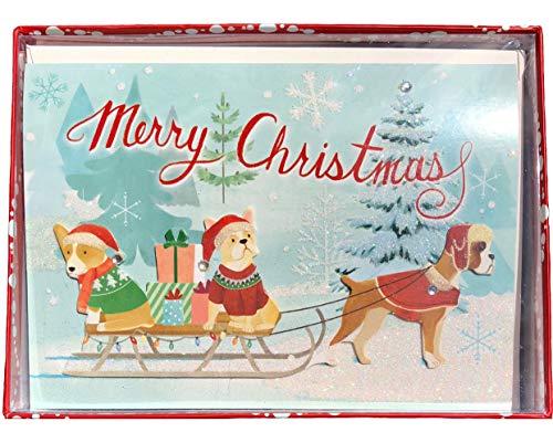 Molly & Rex Christmas Dog Sled (Corgi-Frenchie-Boxer) 3D Embellished Holiday Cards 14054, Set of -