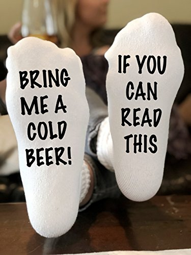 If You Can Read This Bring Me A Cold Beer Funny Novelty Funky Crew Socks Men Women Christmas Gifts Slipper Socks