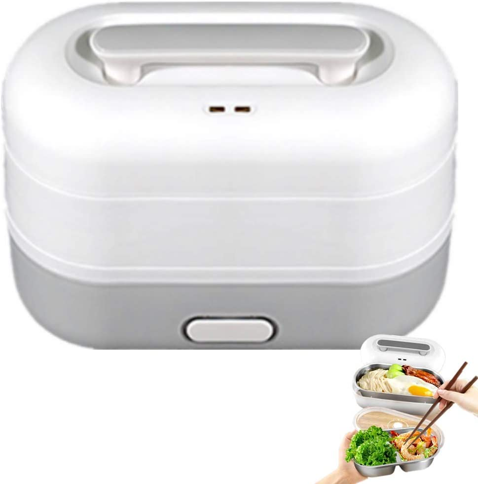 Nifogo Electric Lunch Box Food Heater Mini Rice Cooker 350W High Power Portable Food Warmerx,1.2L Portable Microwave for Adults Use 220V, for Men,for Home/Office(Grey-2)