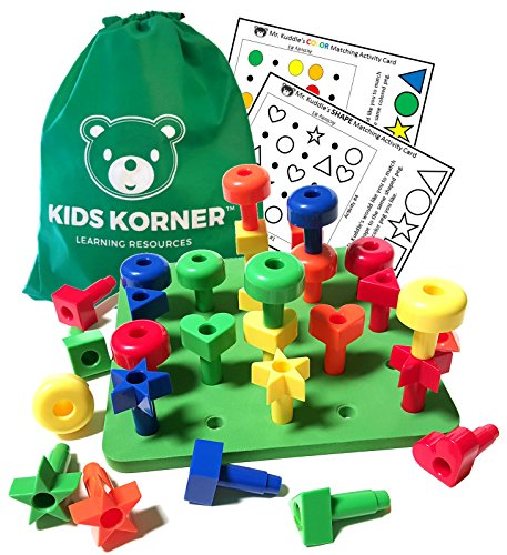 Kids Korner Colors and Shapes Rainbow Pegboard Set with Pattern Card, Tote and Activity Guide PDF