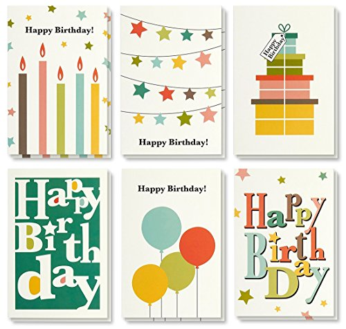 Birthday Card - 48-Pack Birthday Cards Box Set, Happy Birthday Cards - Bright Party Designs Birthday Card Bulk, Envelopes Included, 4 x 6 -