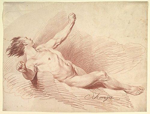 Reclining Male Nude as Wind God on Clouds Poster Print by Jakob Matthias Schmutzer (Austrian Vienna 1733-1811 Vienna) (18 x 24)
