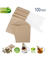 """Eco-Fil Disposable Tea Filter Bags for Loose Tea, Wood Pulp Material, Biodegradable and Compostable, Unbleached Empty Tea Infuser Sachets with Drawstring, 100 Pack (3.2"""" x 4.0"""")"""