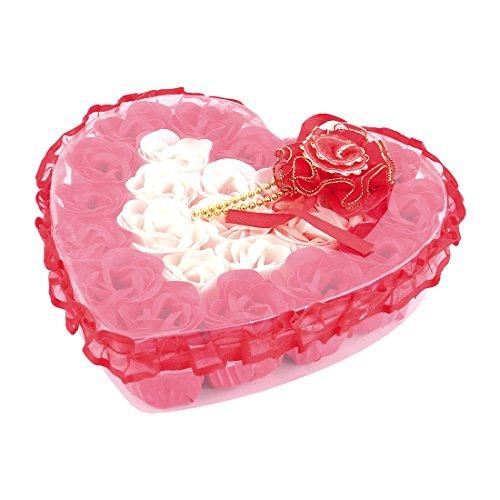 sourcingmap® Boîte forme coeur Festival Décor floral fleur artificielle rose Savon 24pcs