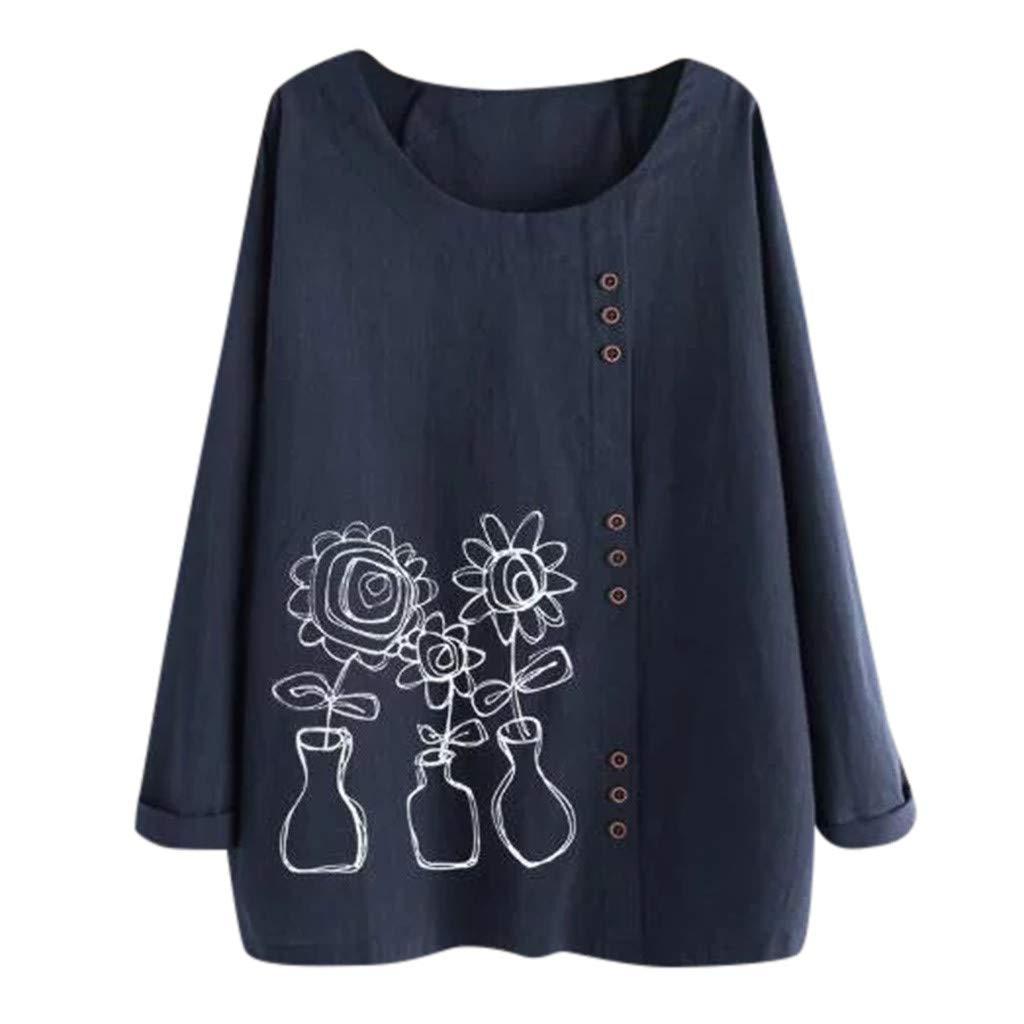 AmyDong Women Long Sleeve Cotton Linen O-Neck Floral Print Blouse Plus Size Button Down Top T-Shirt M-5XL Black by AmyDong Women Blouse