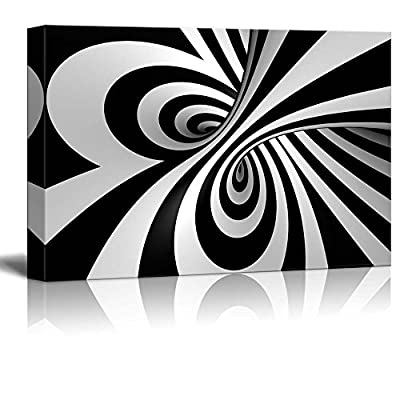 Canvas Prints Wall Art - Abstract Black and White Spiral | Modern Wall Decor/Home Decoration Stretched Gallery Canvas Wrap Giclee Print & Ready to Hang - 16