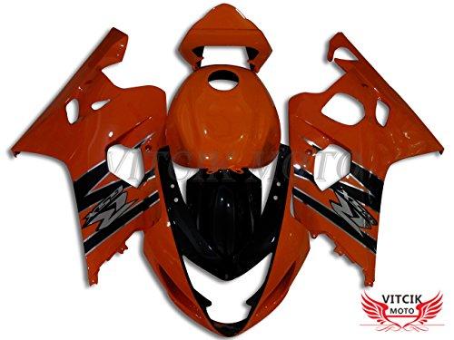 VITCIK (Fairing Kits Fit for Suzuki GSX-R750 GSX-R600 K4 2004 2005 GSXR 600 750 K4 04 05) Plastic ABS Injection Mold Complete Motorcycle Body Aftermarket Bodywork Frame (Orange & Black) A078
