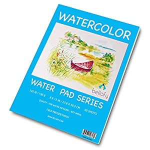 Bellofy 50 Sheet Watercolor Paper Pad – 130 IB / 190 GSM Weight – 9×12 in Size – Cold Press Paper – Water Painting Art Notebook Pad