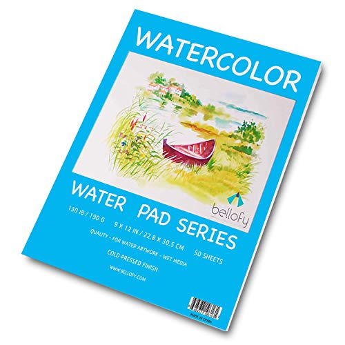 Bellofy 50 Sheet Watercolor Paper Pad - 130 IB / 190 GSM Weight - 9x12 in Size - Cold Press Paper - Water Painting Art Notebook Pad ()