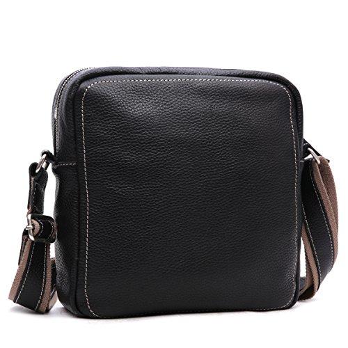 Leathario bolso bandolera de color café con La primera capa de cuero de caballo loco para viaje o trabajo. negro
