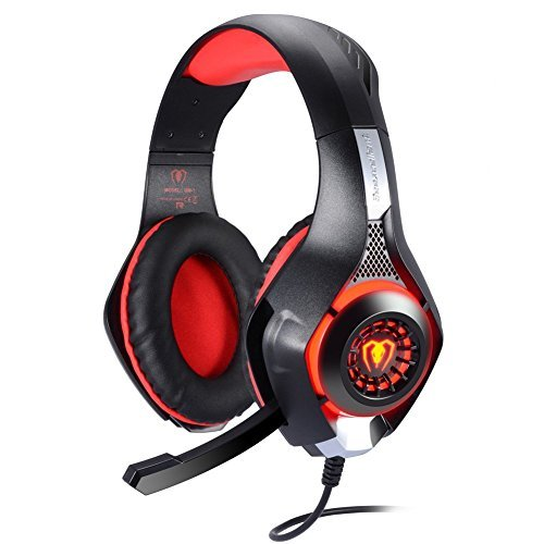 BlueFire 3.5mm PS4 Gaming Headset Headphone with Microphone and LED Light Compatible with Playstation 4, Xbox one, PC (Red)