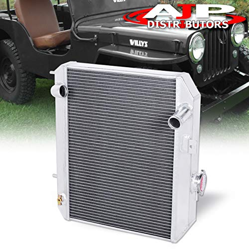 (AJP Distributors 3 Row/Tri-Core Full Aluminum Front Mount Performance Engine Oil Cooling Racing Radiator For 1941 1942 1943 1944 1945 1946 1947 1948 1949 1950 1951 1952 Ford GPW Jeep Willy CJ-2A/M38 )