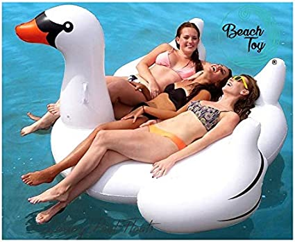Beachtoy Colchoneta hinchable gigante para playa o piscina, diseño de cisne, para 2-3 personas, 190 x 190 x 130 cm (XXL), color blanco: Amazon.es: Belleza