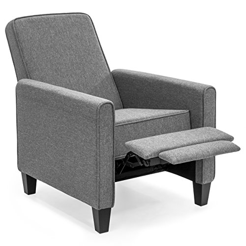 Best Choice Products Modern Sleek Upholstered Fabric Padded Executive Recliner Club Chair w/Leg Rest, Sturdy Frame - Slate Gray