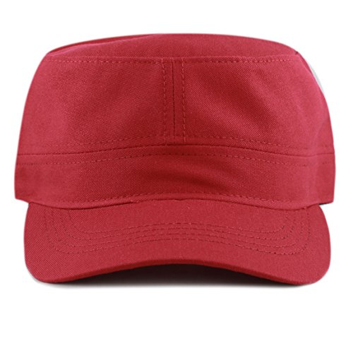 Military Style Cadet Hat - The Hat Depot Cotton Twill Military Caps Cadet Army Caps (Red)