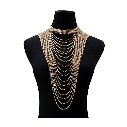 Statement Necklace for Women Multi-layers Tassels Wide Choker Pendant Formal Party Wedding Gold Chain 1pc with Gift Box - HLN68 Gold by Holylove