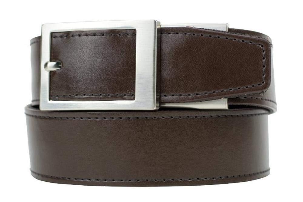 Nexbelt Ratchet System Technology - Defender Brown Leather EDC Gun Belt for Men with High Strength Zipper Backing