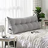 VERCART Velvet Sofa Bed Large Soft Upholstered Headboard Filled Wedge Cushion Bed Backrest Positioning Support Reading Pillow Office Lumbar Pad with Removable Cover Light gray Queen