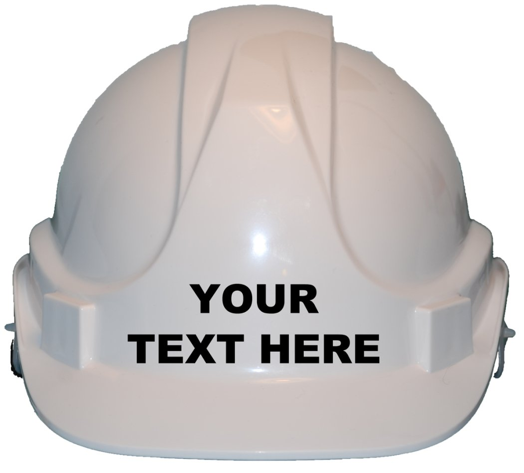 Personalised Bespoke With Own Wording Children, Kids Hard Hat Safety Helmet With Chin Strap One Size Adjustable Suitable for 4-12 Years White Derby Hi-Vis