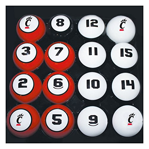 Sports Fan Products College Billiard 16 Ball Numbered Set - (Cincinnati Billiard Ball Set)