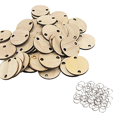 Wooden Round Discs-YuQi DIY Birthday Board And Rings(Set Of 50) (Dye Chart Color)