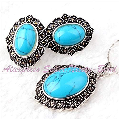 Calvas Pretty Oval Beads Gem Stone Marcasite Tibetan Silver Classical for Fashion Pendant Earrring 22x26mm/25x35mm 1 Set - (Color: - Pendant Gemstone 25x35mm Oval