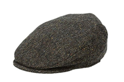 (Hanna Hats Men's Donegal Tweed Vintage Cap Brown Salt & Pepper XL)