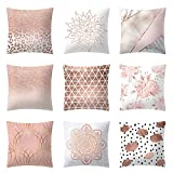 LiPing 17.7x17.7in/45x45cm Fashion Rose Gold Pink Pattern Throw Pillow case Soft Linen Home Decor Cushion Cover (B)