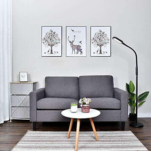 Loveseat Sofa Couch with Pocket Organizer, 59 Inch Modern Upholstered Removable Back Seat Cushion Home Living Room Furniture Set Bedroom Sofa for Small Space (Gray) (Sleeper Sofa Sectional Shaped L)
