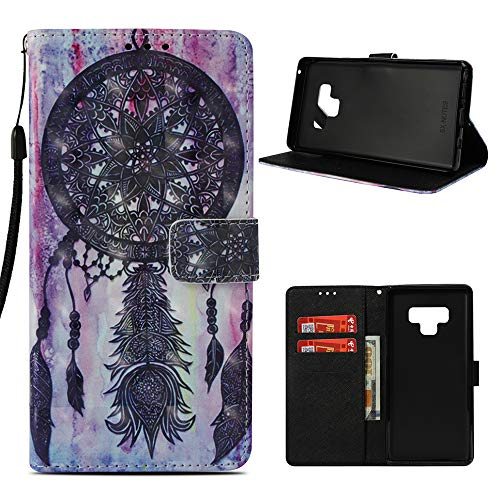 Fashion Horizontal Case (Samsung Galaxy Note 9 Wallet Case, Mavis's Diary Fashion Premium PU Leather Wallet 3D Cute Design Painted Pattern Floral Flip Folio Case with Soft TPU Inner Cover - Totem Wind Chimes)