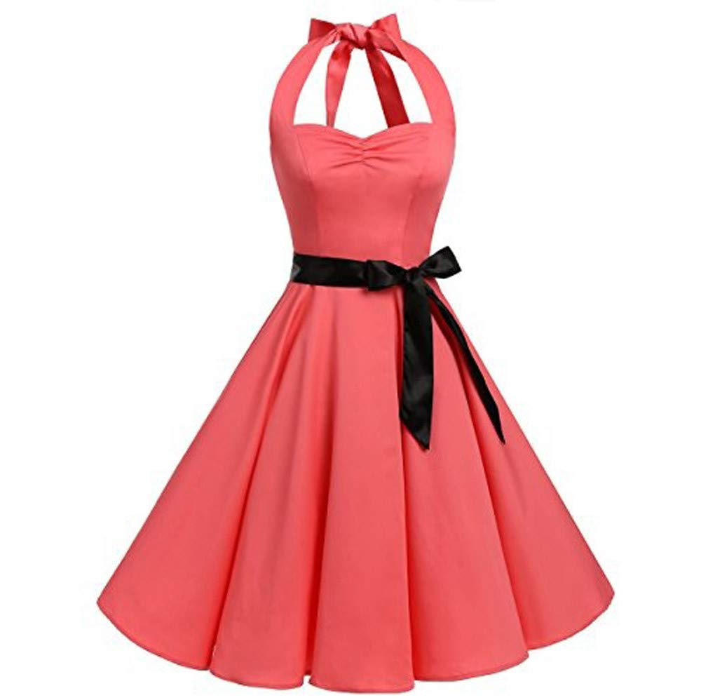 Nevera Women's Vintage 1950s Halter Cocktail Solid Party Cocktail Swing Dress with Bandage Pink