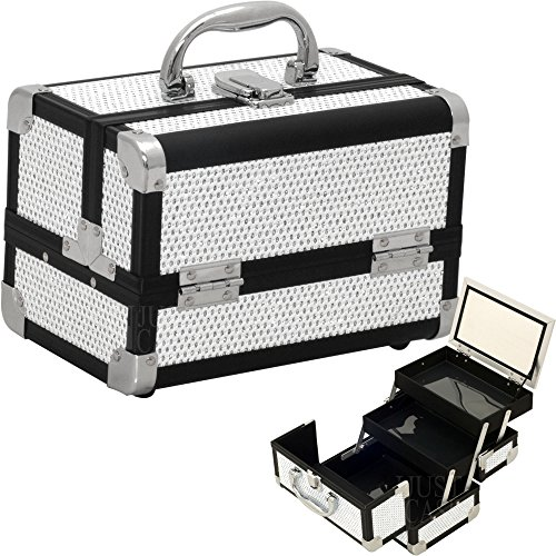 Sunrise White Krystal Pattern 2-Tiers Extendable Trays Cosmetic Makeup Train Case with Mirror M1001 Tier Mirror Display