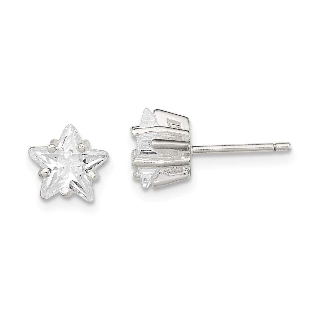Diamond2Deal 925 Sterling Silver 7mm Star Cubic Zirconia Stud Earrings