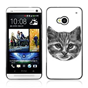 Designer Depo Hard Protection Case for HTC One M7 / Kitty Cat Pencil Painting