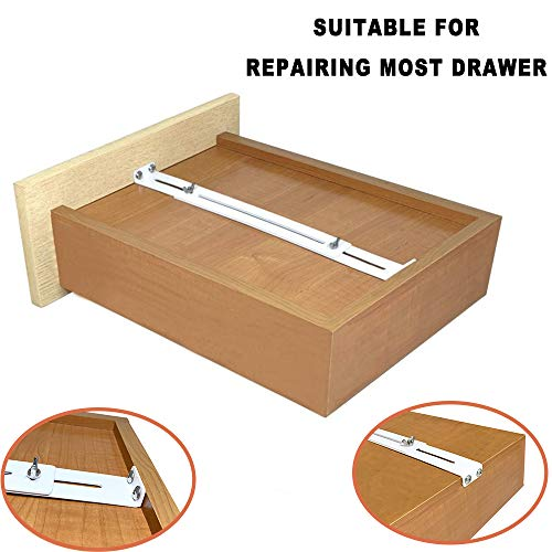 FRMSAET Drawer Repair Kit - Used to Reinforce and Repair Wooden/MDF/Chipboard Drawers Cabinet Reinforcement Heavy Duty Steel Hardware Furniture Accessories Brackets - Includes Screws (1 Pair)