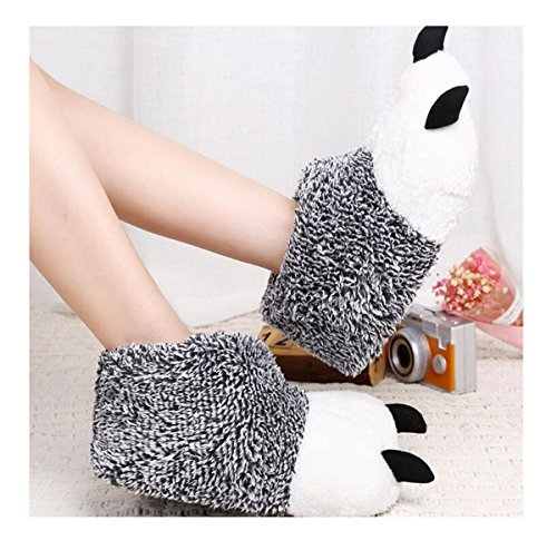 Griffe Lanfire De Gris Ours Pantoufles Chaussures Patte Arctique Peluche Velours Coton wqYBn1q4g