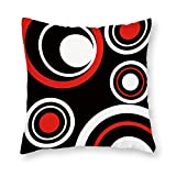 DKISEE Black White and Red Circle Pattern Decorative Cushion Cover Pillowcase for Sofa Couch Chair Seat 18